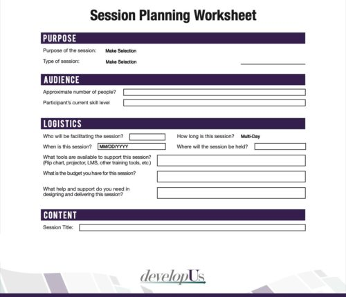 Session Planning Worksheet